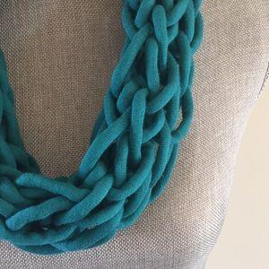 Teal handmade arm knit infinity scarf